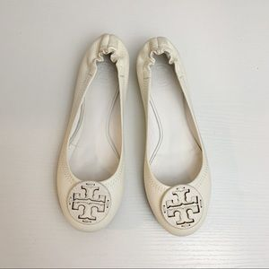 Tory Burch White Reva Minnie Pebbled Leather Flats